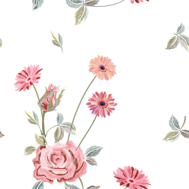Vector square floral seamless pattern with pink rose, gerbera daisy, canvas for embroidery. Red, pink flowers, leaves on white background, digital draw, ornament for fashion, vector Vector square floral seamless pattern with pink rose, gerbera daisy, canvas for embroidery. Red, pink flowers, leaves on white background, digital draw, ornament for fashion, vector shabby chic stock illustrations