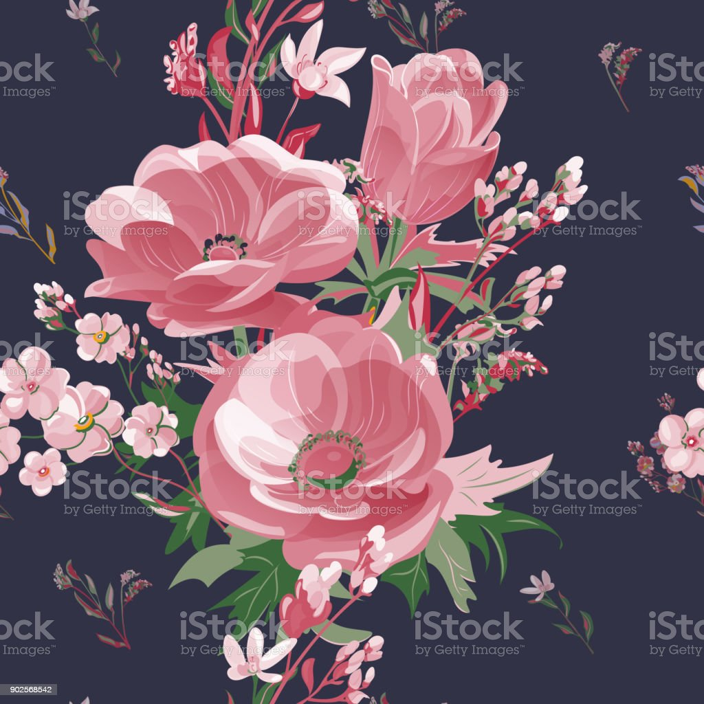 Vector square floral seamless pattern with red flowers, scarlet anemone, forget-me-not, stems and leaves on black background, digital draw, botanical illustration, surface design vector art illustration