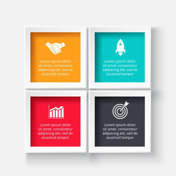 vektör square infographic için. döngü diyagramı, grafik, sunum ve grafik şablonu. 4 seçenekleri, parçalar, adımları veya işlemler ile iş kavramı. arka plan. - kare kompozisyon stock illustrations
