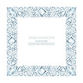 Vector square frame from realistic silver gems and jewels on white background. Shiny diamonds jewelry design elements. Banner, poster, gift card, invitation template.