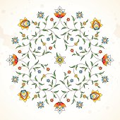 Vector element, arabesque for design template. Luxury ornament in Eastern style. Square floral illustration. Ornate decor for invitation, greeting card, wallpaper, background, web page.