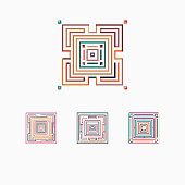 Vector square pattern icon collection