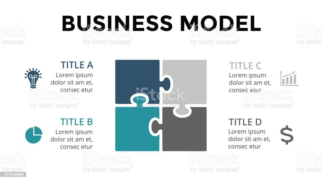 Vector square puzzle infographic, cycle diagram, graph, presentation chart. Business model concept with 4 options, parts, steps, processes. 16x9 slide vector art illustration