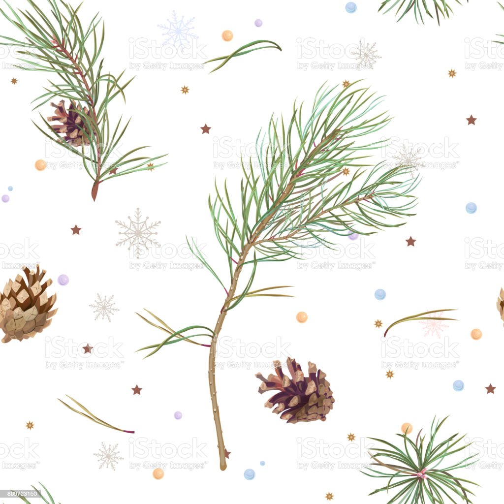 Vector square seamless pattern with green pine branches and brown cones, needles, snowflakes, stars, tinsel on white background, illustration for fabric, wallpaper, wrapping, vintage vector art illustration