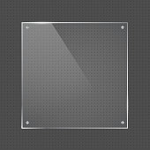 Vector realistic square glossy shape glass frame with small silver nails on transparent background. Glass element for banner design, advertising, web