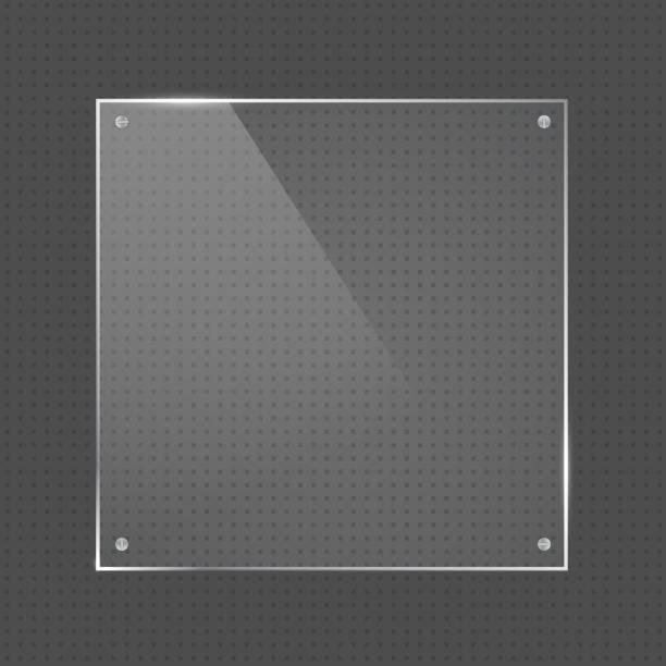 vektor-quadratische form-glasrahmen mit nägeln - nagelplatte stock-grafiken, -clipart, -cartoons und -symbole