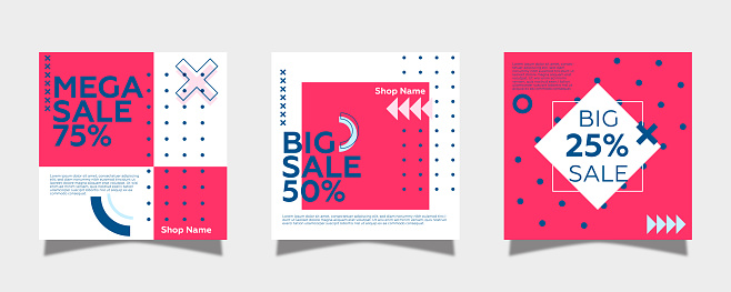 Vector square web banner templates for big and mega sale with pink square elements. Geometric shapes and gray background