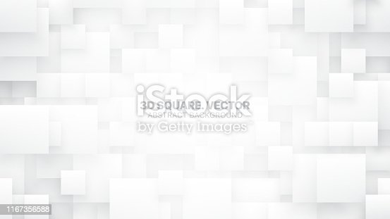 3D Vector Different Size Square Blocks Conceptual Technologic White Abstract Background. Tech Clear Blank Subtle Textured Backdrop. Science Technology Tetragonal Structure Light Wallpaper