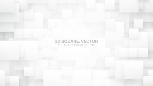 3d-vektorquadrate konzeptueller weißer hintergrund - tapete stock-grafiken, -clipart, -cartoons und -symbole