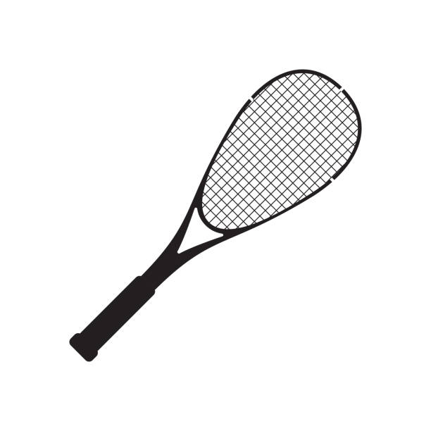 Vector squash racquet sport silhouette black icon Vector squash racquet silhouette black icon. Ground game equipment. Professional sport, classic tennis racket for official competitions and tournaments. Isolated illustration racket stock illustrations