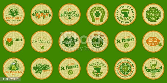 Saint Patricks day logo round labels icon set. Template for beer party invitation in bar or pub