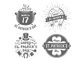 St. Patricks day badges. Vector logos with clover, horseshoe, leprechauns hat, beer mug, pot with coins and other traditional symbols. Set of vintage holiday labels.