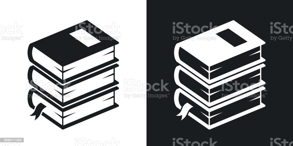 Vector stack of books icon. Two-tone version vector art illustration