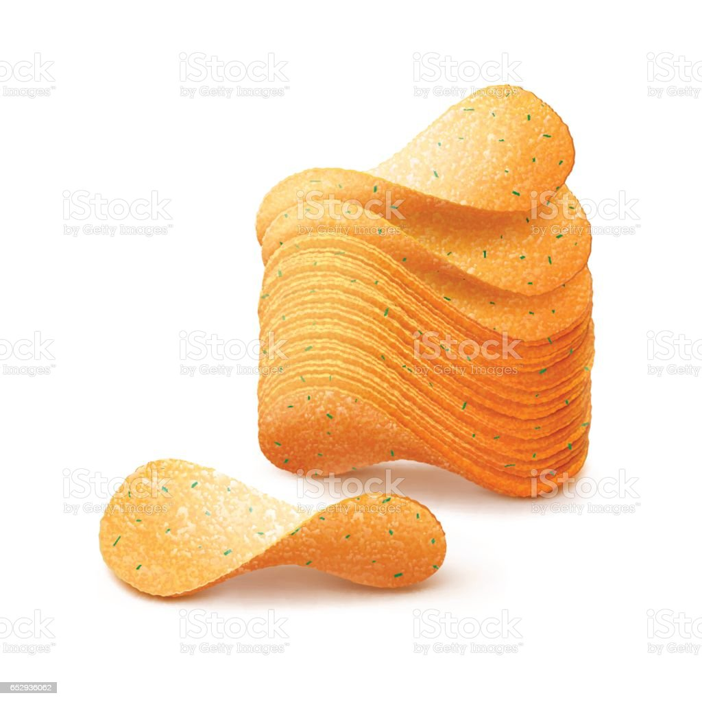 Vector Stack of Potato Crispy Chips Close up Isolated on Background vector art illustration