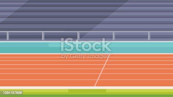 istock Vector stadium location. Tribunes and running track. 1094157656