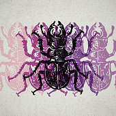 Vector stag-beetles in abstract composition