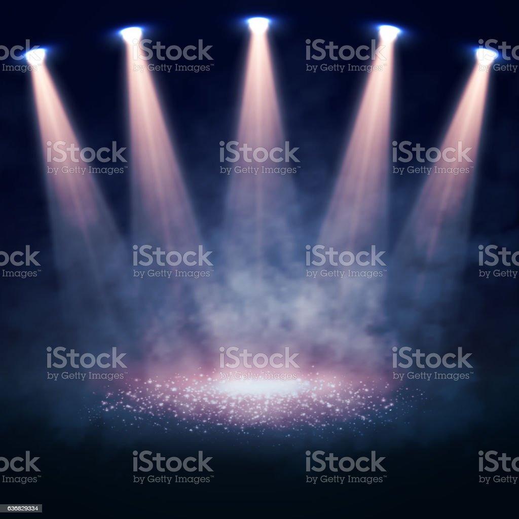 Vector Stage illuminated by spotlights. Interior shined with a projector