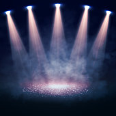 Stage illuminated by spotlights. Interior shined with a projector. Vector illustration