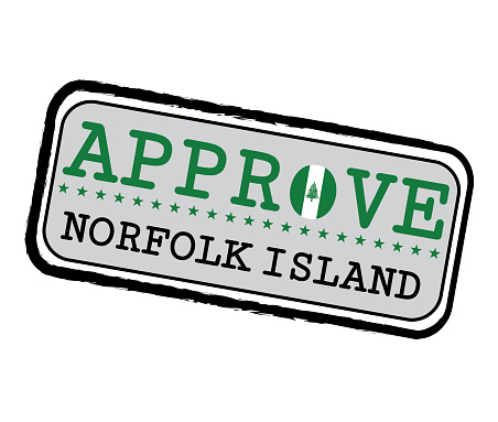 Vector Stamp for Approve logo with Norfolk Flag in the shape of O and text Norfolk Island.