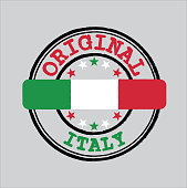 Vector Stamp for Original logo with text Italy and Tying in the middle with Italian Flag. Grunge Rubber Texture Stamp of Original from Italy.