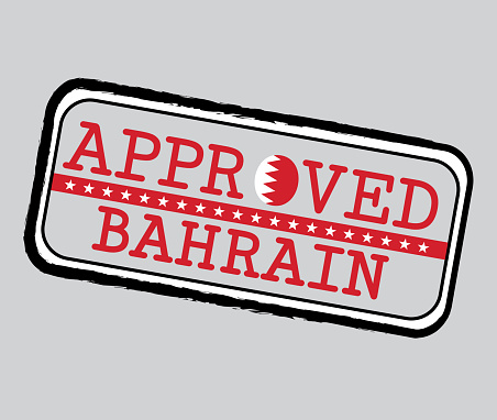 Vector Stamp of Approved symbol with Bahraini Flag in the shape of O and text Bahrain.