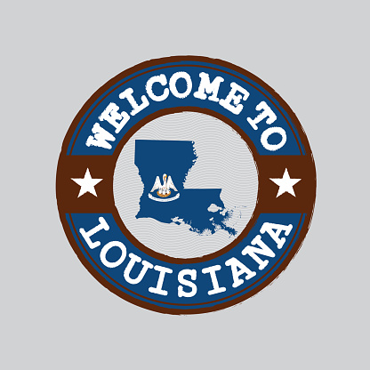 Vector stamp of welcome to Louisiana with map outline of the nation in center. the states of America.