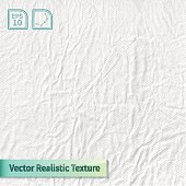 Vector stamped crumpled fluffy white paper photo texture.