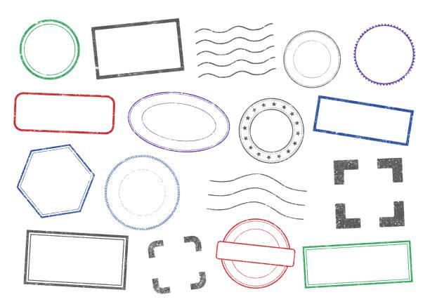 illustrazioni stock, clip art, cartoni animati e icone di tendenza di vector stamps frames 2 - sigillo timbro