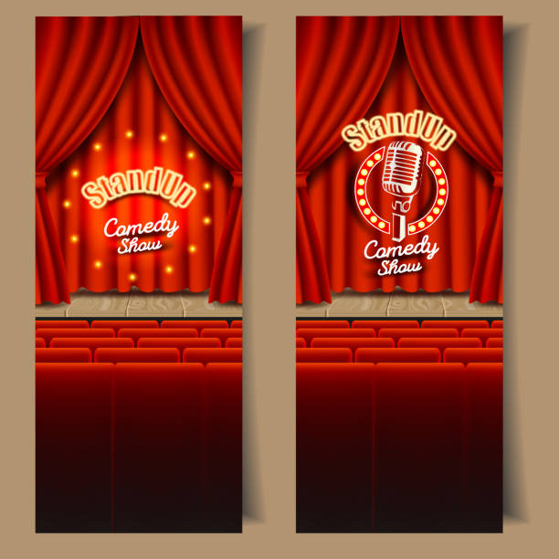 vector stand-up comedy show banner set - comedian stock illustrations