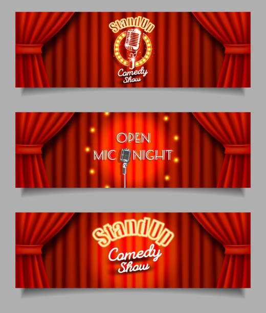 vector stand-up comedy show open mic night banners - comedian stock illustrations