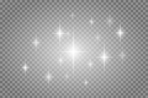 Vector star light glow effect template isolated on transparent background. Glowing light effect. Star burst with sparkles.