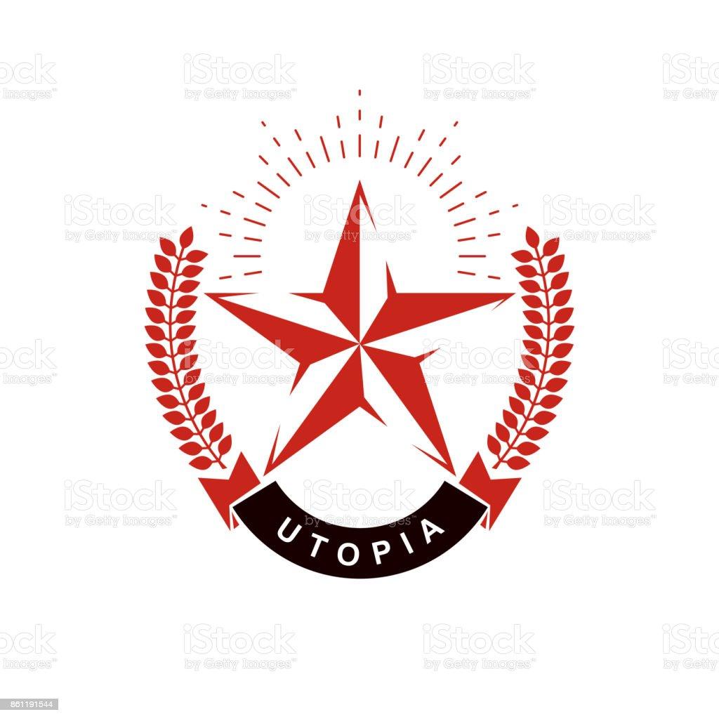 Vector star symbol composed using laurel wreath. Totalitarianism as the evil power, ideological propaganda. vector art illustration