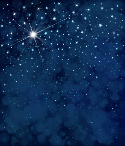 vector starry  night sky  background. - skies stock illustrations, clip art, cartoons, & icons