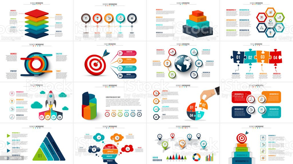 Vector startup infographics, diagram chart, graph and presentation. Business report with 4, 5, 6 and 7 options, parts, steps processes. Puzzle, circles, target, pyramid, map and timeline. - ilustração de arte vetorial