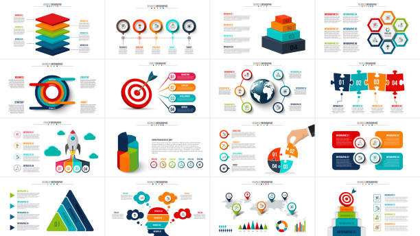 vector startup infographics, diagram chart, graph and presentation. business report with 4, 5, 6 and 7 options, parts, steps processes. puzzle, circles, target, pyramid, map and timeline. - infographics stock illustrations, clip art, cartoons, & icons