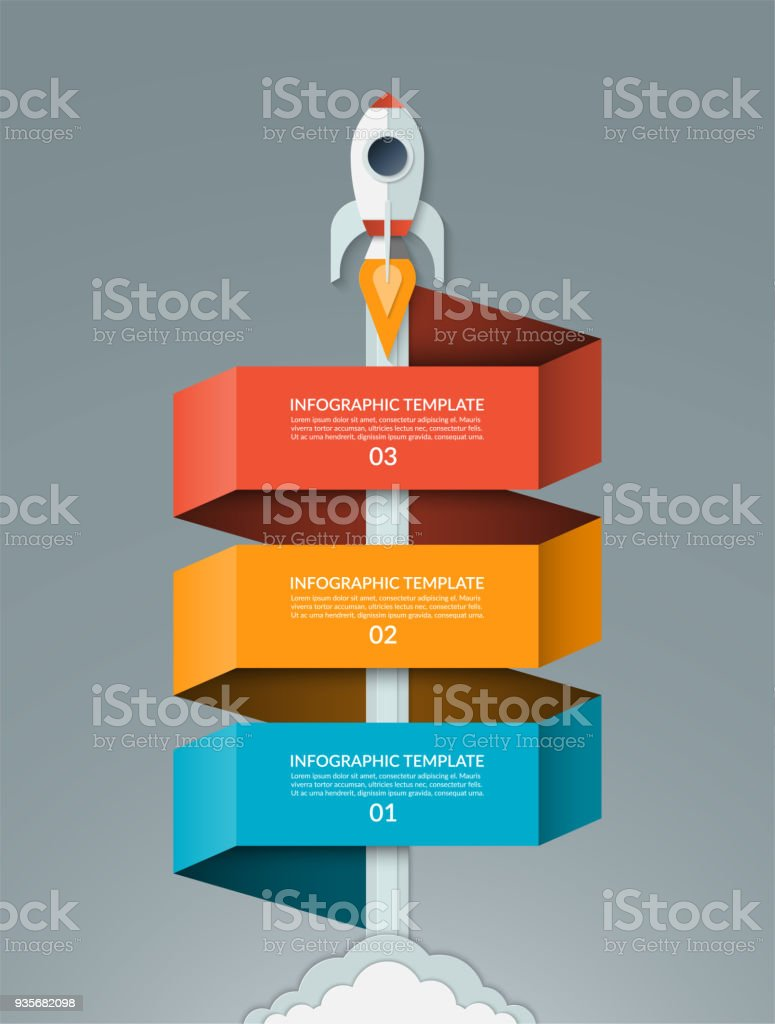 Vector startup infographics. Starting space rocket with 3 options banner. Can be used for graph, diagram, chart, business or education concept. vector art illustration