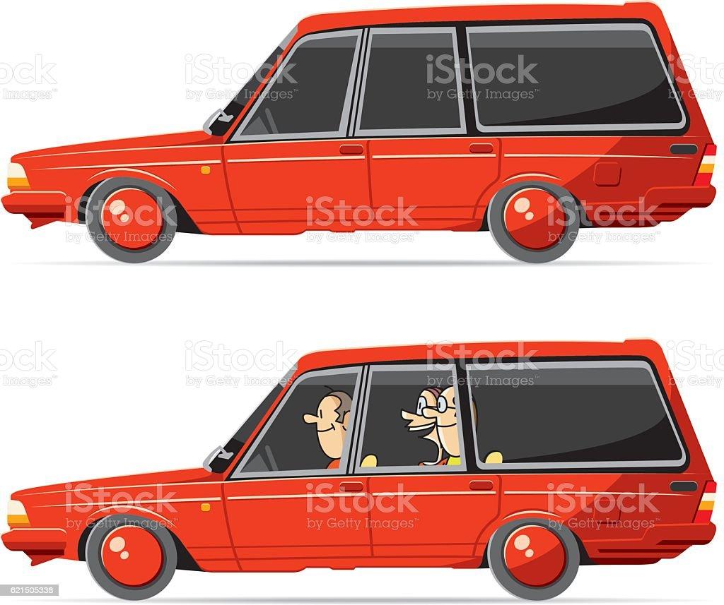 Vector station wagon vector art illustration