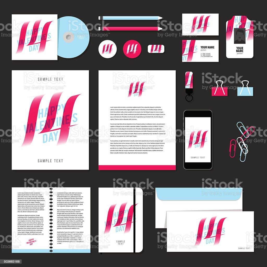 Briefpapiervorlagevektordesignelemente Liebe Valentinstag Vektor