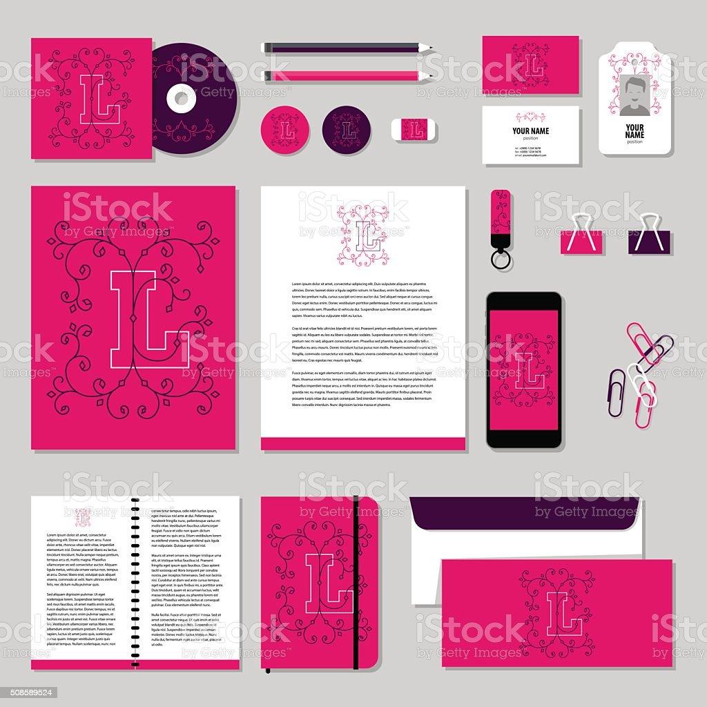 Briefpapiervorlagevektordesignelemente Liebe Valentinstag Stock
