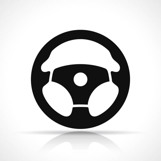 Vector steering wheel black icon Vector illustration of steering wheel black icon steering wheel stock illustrations