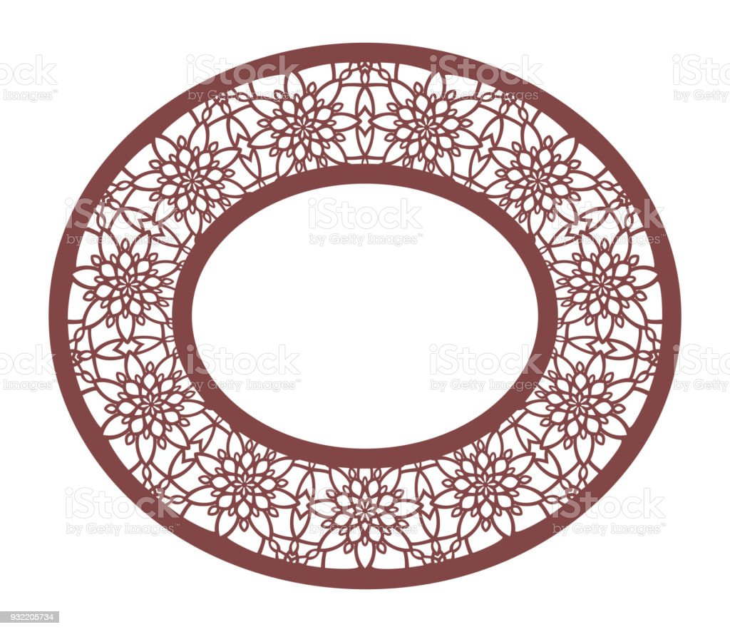 Vector Stencil Lacy Oval Frame With Carved Openwork Pattern Template ...