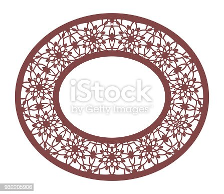 Vector Stencil Lacy Oval Frame With Carved Openwork Pattern Template