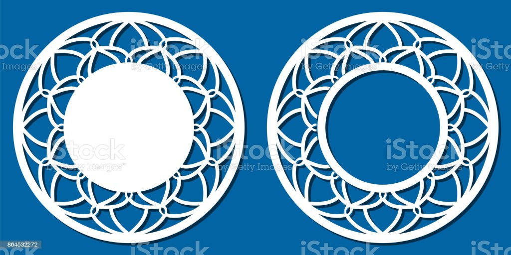 Vector Stencil lacy round frame with carved openwork pattern. Template for interior design, layouts wedding invitations, gritting cards, envelopes, decorative art objects etc. Image suitable for laser cutting, plotter cutting or printing. Stock vector vector art illustration