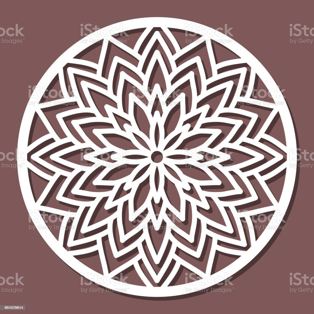 Vector Stencil lacy round ornament Mandala with carved openwork pattern. Template for interior design, layouts wedding invitations, gritting cards, envelopes, decorative art objects etc. Image suitable for laser cutting, plotter cutting or printing. Stock vector art illustration