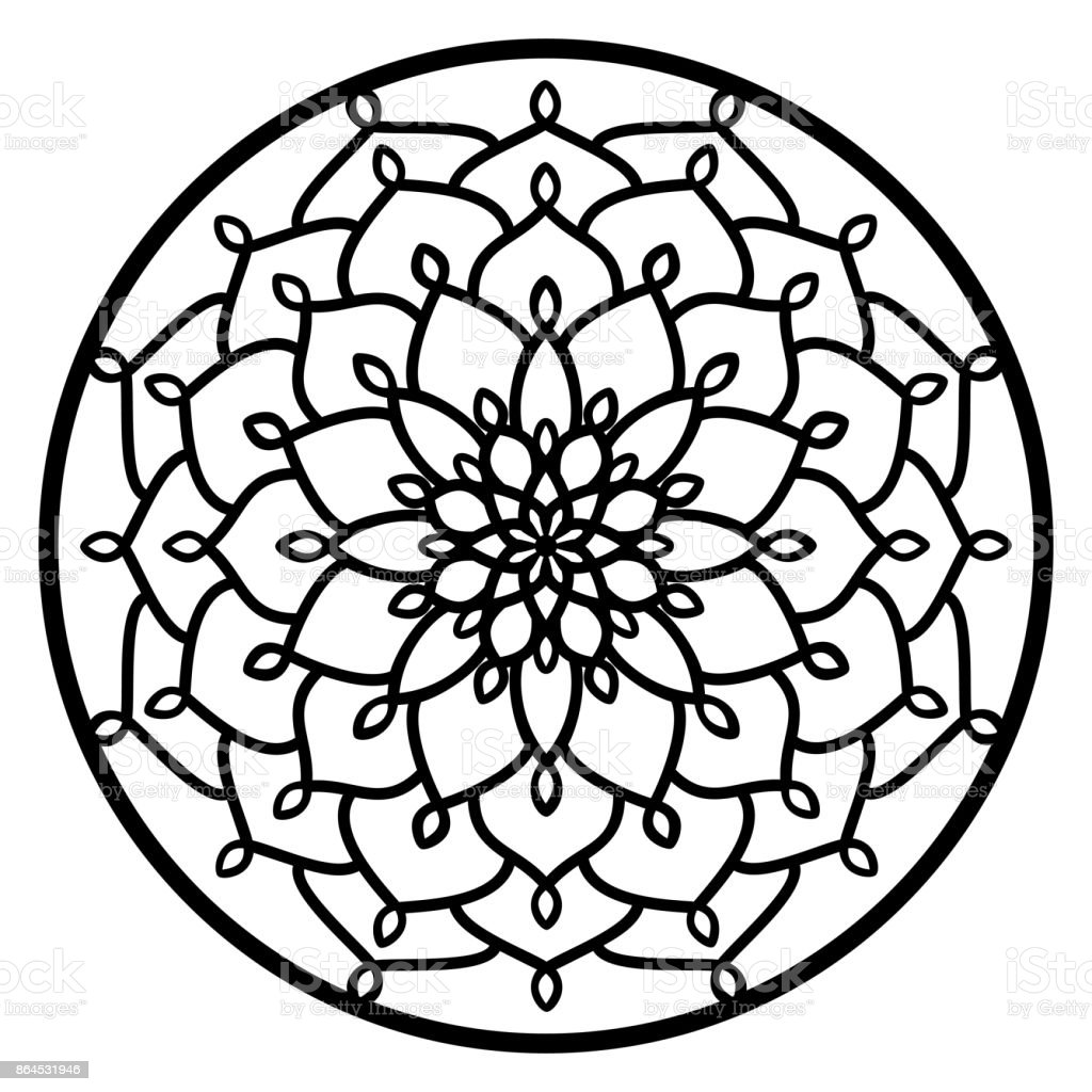 Vector Stencil Lacy Round Ornament Mandala With Carved Openwork ...