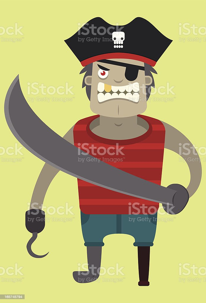 Vector stereotypical pirate vector art illustration