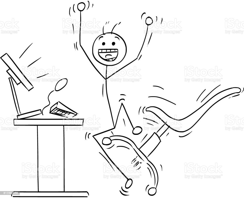 Vector Stick Man Cartoon Of Happy Man Celebrating A Success In Front