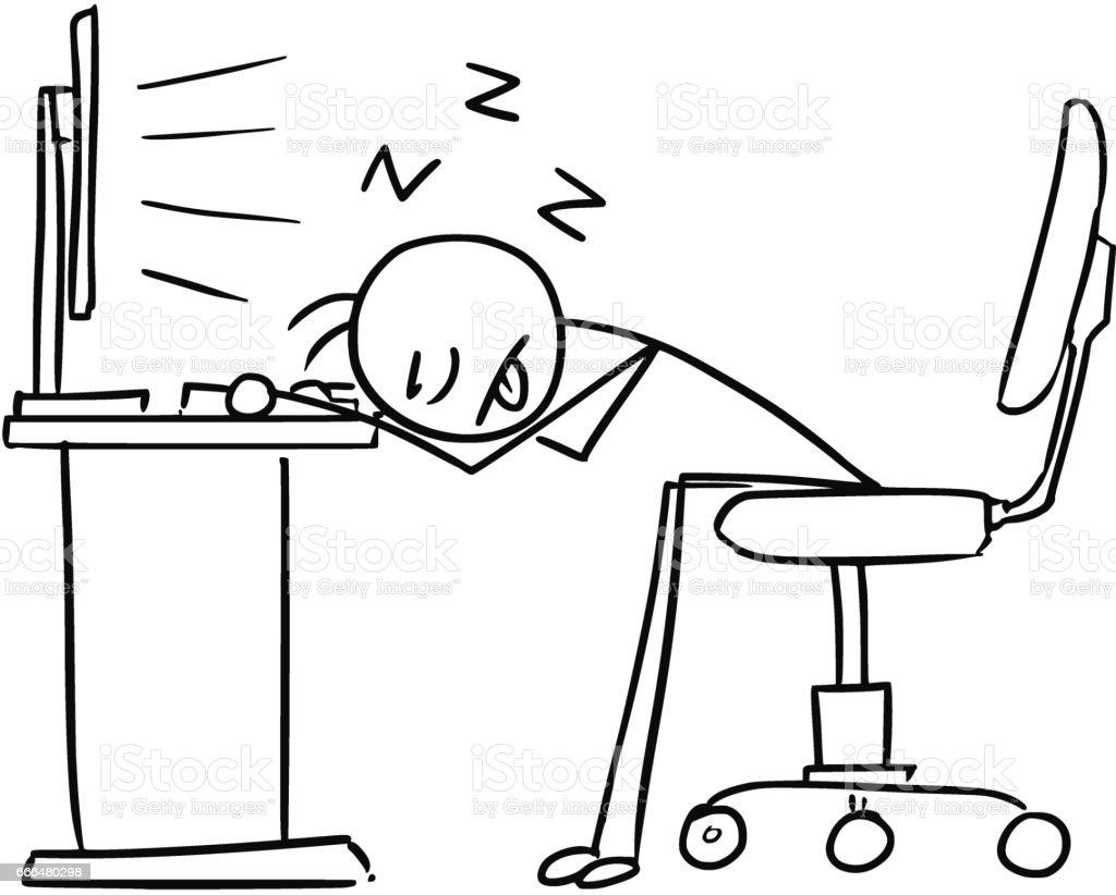 Vektorstick Mann Cartoon Des Menschen Schlafen Mit Kopf Auf Dem