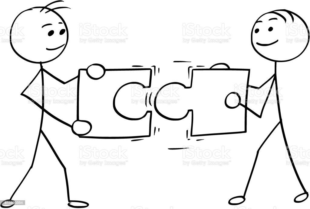 Vector Stick Man dessin animé de deux hommes tenant un grand casse-tête des morceaux - Illustration vectorielle