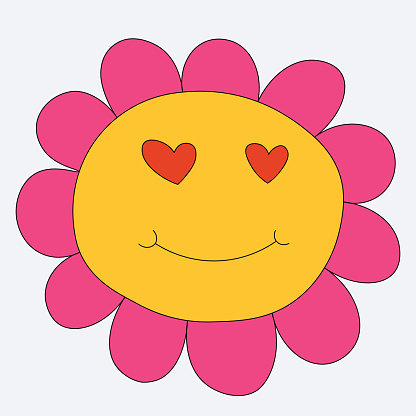 vector sticker chamomile with face.Quirky flower character for valentine's day.60s and 70s hippie tattoo template.Bizarre monster. romantic smiley in love.Funky groovy botanic monster.Childish style